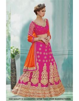 Bridal Wear Pink Net Lehenga Choli - 60484
