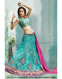 Traditional Turquoise Net Lehenga Choli - 60501