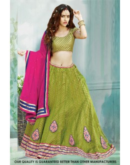 Ethnic Wear Green Net Lehenga Choli - 60506