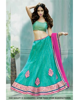 Festival Wear Green Net Lehenga Choli - 60508