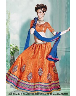 Orange Net Embroidery Lehenga Choli - 60513