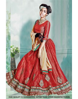 Net Red Embroidery Lehenga Choli - 60514