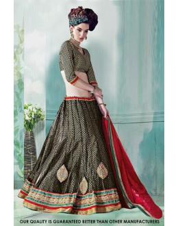 Coffee Net Embroidery Lehenga Choli - 60516