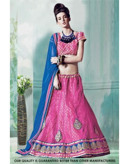 Festival Wear Light Pink Net Lehenga Choli - 60518