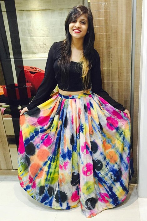 Fancy Multi-Colour Crepe Lehenga Choli - 60539