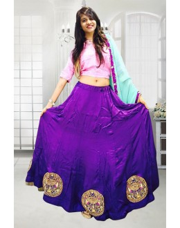 Blue Colour Satin Lehenga Choli - 60540
