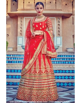 Wedding Wear Red Malabary Silk Lehenga Choli - 60544A