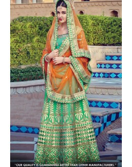 Bridal Wear Green Malabary Silk Lehenga Choli - 60544B