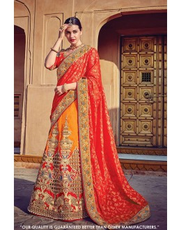 Festival Wear Yellow & Red Jacquard Silk Lehenga Choli - 60545A