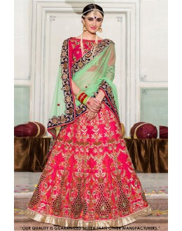 Bridal Wear Pink Silk Lehenga Choli - 60547