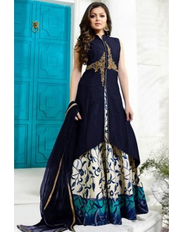 Party Wear Navy Blue Tafetta Lehenga Suit - 60550A