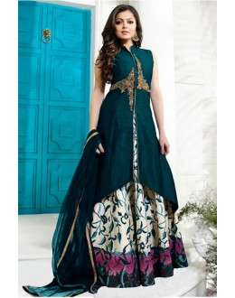 Casual Wear Blue Tafetta Lehenga Suit - 60550C