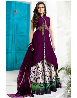 Wedding Wear Purple Tafetta Lehenga Suit - 60550D