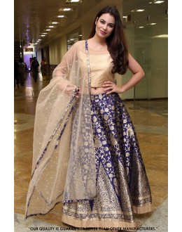 Wedding Wear Blue Jacquard Lehenga Choli - 60563