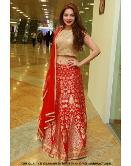 Tanya Hope In Red Jacquard Lehenga Choli - 60564
