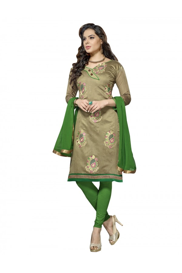 Casual Wear Chanderi Beige Churidar Suit Dress Material  - 70025