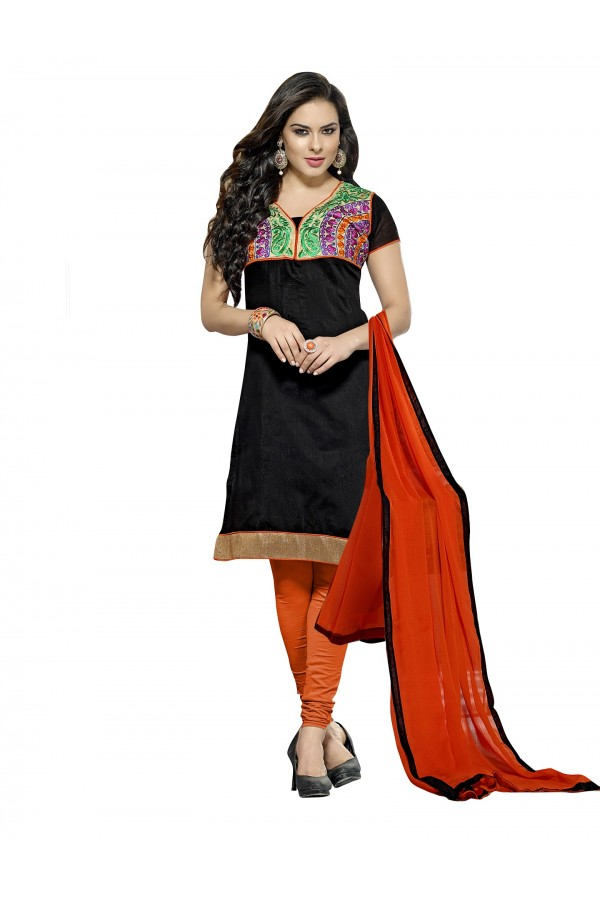 Casual Wear Chanderi Black Churidar Suit Dress Material  - 70026