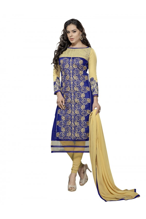 Casual Wear Chanderi Blue Churidar Suit Dress Material  - 70009