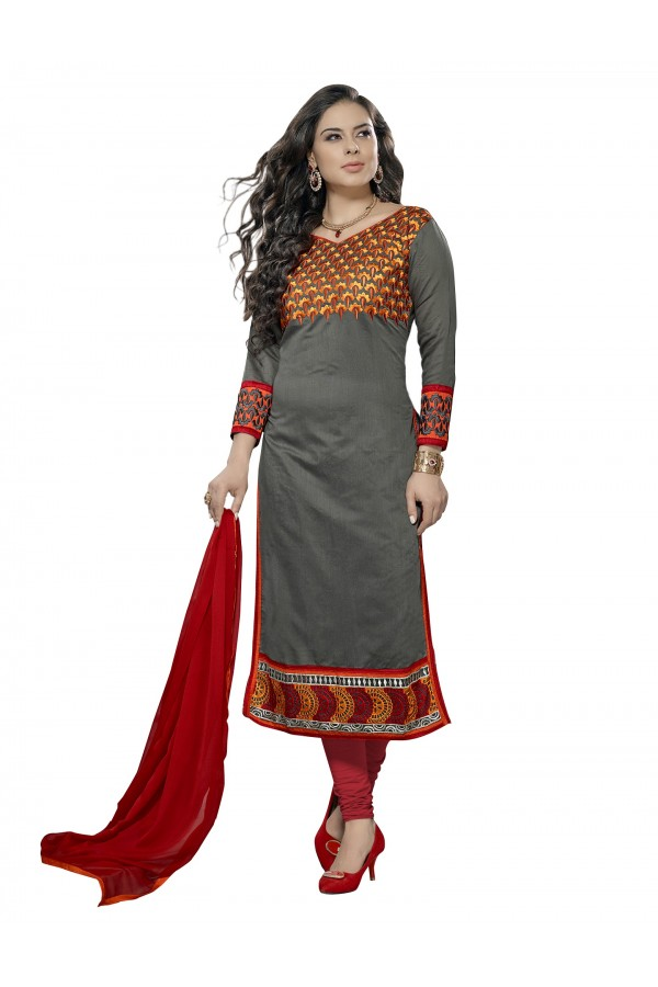 Casual Wear Chanderi Grey Churidar Suit Dress Material  - 70001