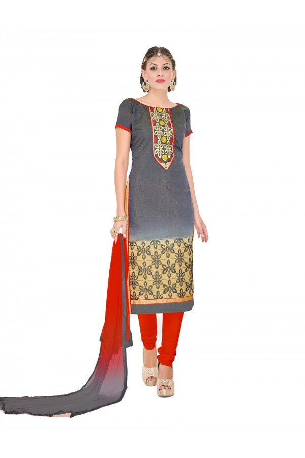 Casual Wear Chanderi Grey Churidar Suit Dress Material  - 70019