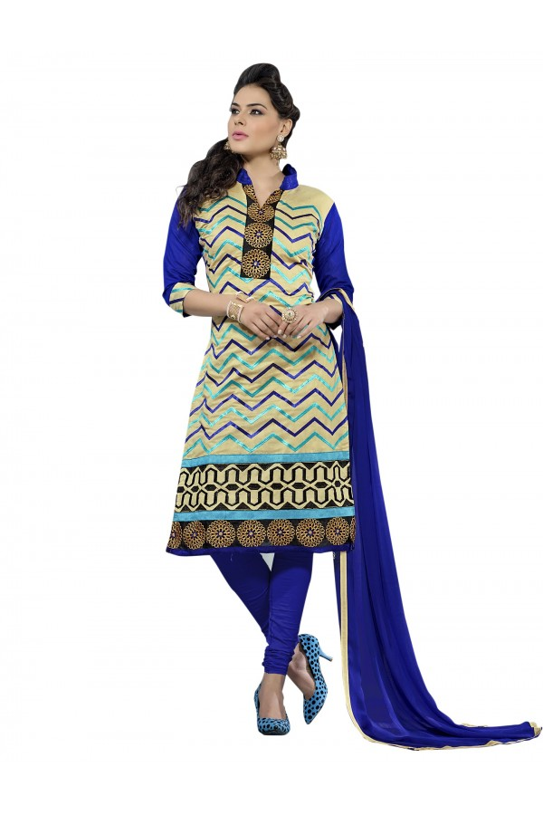 Casual Wear Chanderi Multicolor Churidar Suit Dress Material  - 70006