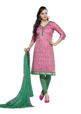 Casual Wear Chanderi Pink Churidar Suit Dress Material  - 70033