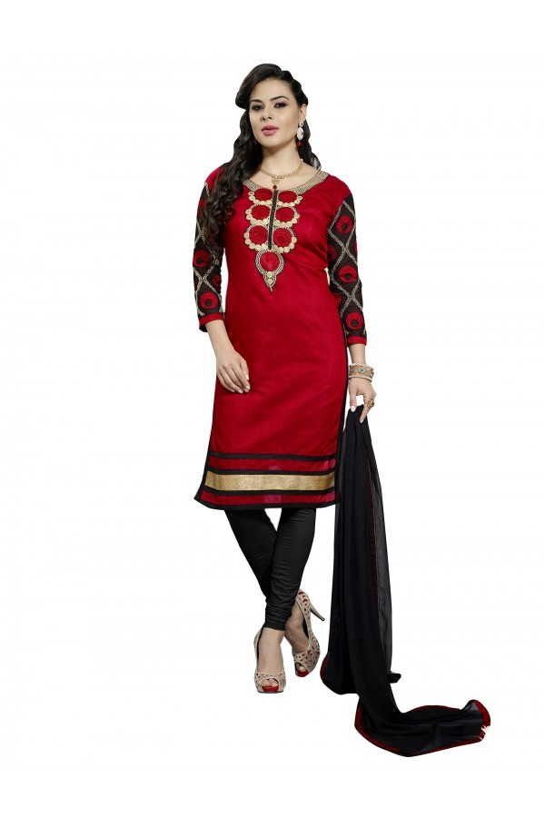 Casual Wear Chanderi Red Churidar Suit Dress Material  - 70011