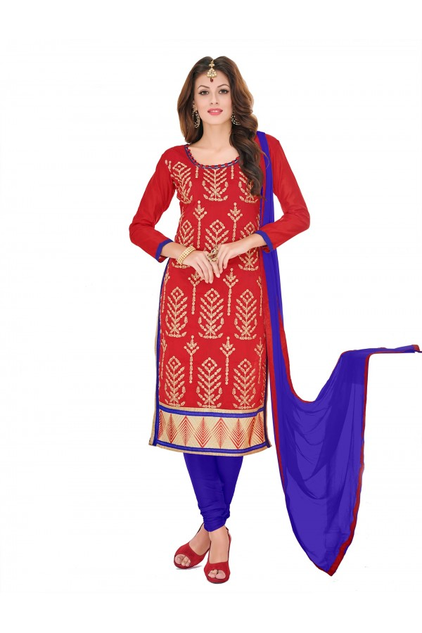 Casual Wear Chanderi Red Churidar Suit Dress Material  - 70013