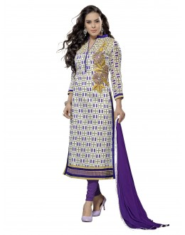 Casual Wear Chanderi White & Purple Churidar Suit Dress Material  - 70000