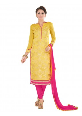Casual Wear Chanderi Yellow Churidar Suit Dress Material  - 70017