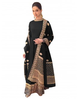 Bollywood Replica - Deepika Padukone Georgette Black Anarkali Suit  - 70048