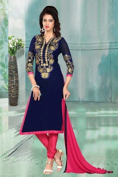 Casual Wear Bhagalpuri Blue Churidar Suit Dress Material  - 70268