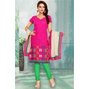 Casual Wear Chanderi Pink Churidar Suit Dress Material  - 70233