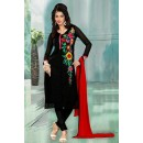 Casual Wear Georgette Black Churidar Suit Dress Material  - 70267