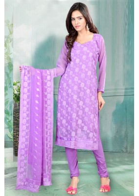 Casual Wear Shiffly Purple Churidar Suit Dress Material  - 70241