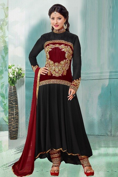 Party Wear Black Georgette Anarkali Suit  - 70256