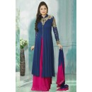 Party Wear Blue Faux Georgette Anarkali Suit  - 70246