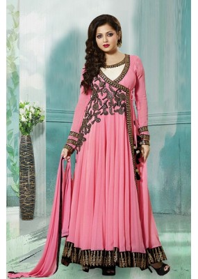 Party Wear Pink Georgette Anarkali Suit  - 70254