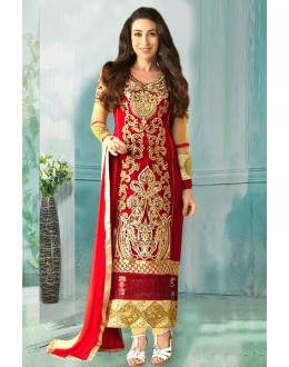 Party Wear Red Georgette Churidar Suit - 70244