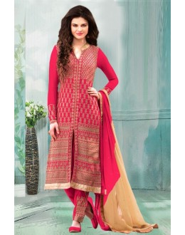 Party Wear Red Georgette Churidar Suit - 70249