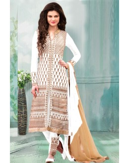 Party Wear White Georgette Churidar Suit - 70253