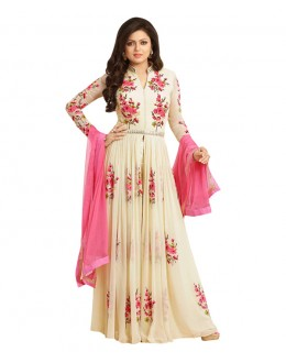 Designer Semi-Stiched Cream Georgette Salwar Suit -  70531