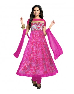 Designer Semi-Stiched Pink Net Salwar Suit -  70535