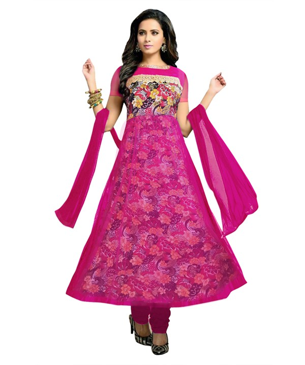 Designer Semi-Stiched Pink Net Salwar Suit -  70536