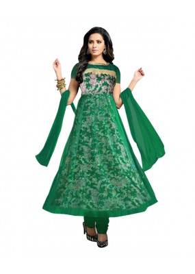 Designer Semi-Stiched Green Net Salwar Suit -  70538