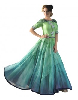 Eid Special Party Wear Green Bhagalpuri Gown - 70560