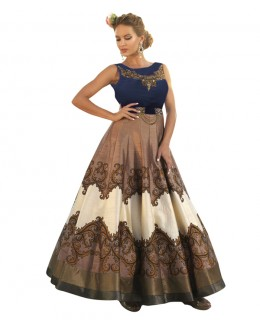 Eid Special Party Wear Blue & Brown  Bhagalpuri Gown - 70561