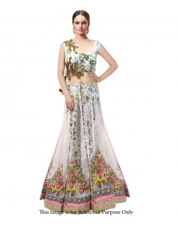 Eid Special Party Wear White Mono Net Gown - 70580