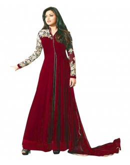 Designer Semi-Stiched Red Georgette  Salwar Suit -  70586