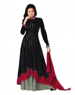Designer Semi-Stiched Black Georgette Salwar Suit -  70597